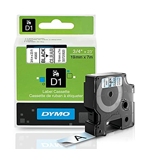 D1 Standard Tape Cartridge for Dymo Label Makers, 3/4in x 23ft, Black on Clear