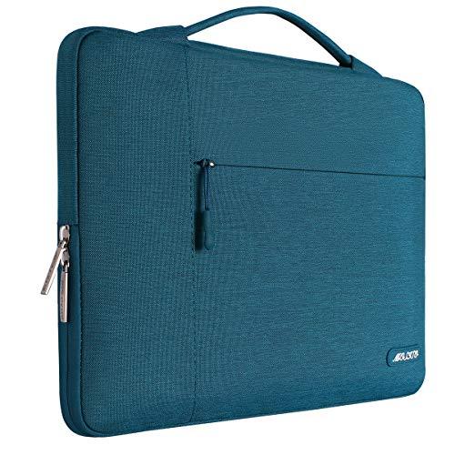 MOSISO Tasche Sleeve Hülle Kompatibel 15-15,6 Zoll MacBook Pro, Notebook Computer Multifunktionshülsen Spritzwasserfest Laptoptasche Handtaschen mit zusätzlichem Stauraum Polyester Hülle, Deep Teal