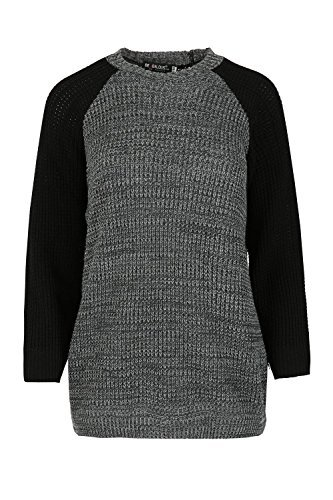 Be Jealous - Pull - Décontracté - Manches Longues - Femme * taille unique Charcoal&Grey Mix/Black