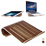 Universal Elegant Wooden Cooling Stand Holder Bracket Dock for MacBook Air/Pro Retina iPad Pro HP Stream ASUS Transformer Book Dell Inspiron HP Flyer Tablet Laptop PC Notebook (II, black walnut)