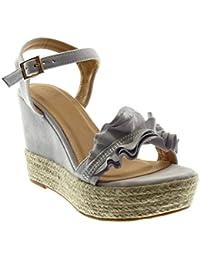 Sandales élégant sabot compensé chaussons 9 jaune confortable comme cuir coloré QNWDL