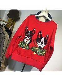 Xing Lin Sudadera Con Capucha Para Hombres Y Mujeres Primavera Nueva Cabeza De Perro De Dibujos Animados Bordado De Cobertura Rojo Más Suéter De Terciopelo Invierno Femenino, M, Rojo