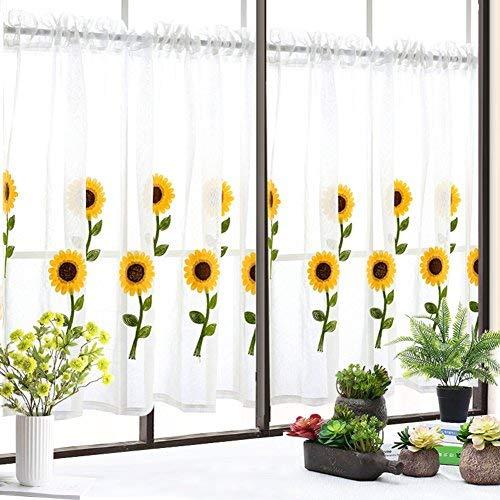 YSA Seidenstraße Stickerei Vorhang, Stoff Partition koreanische Volants Schlafzimmer Blackout Semi-Schiere Gardinen-A 59 'x 30' -