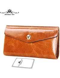 Artemis'Iris Womens Luxury Wax Genuine Leather Wallet Evelope Clutch Multi Card Slots Money Holder Travel Long Purse Lady Handbag