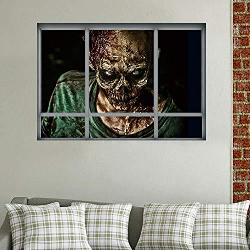 friendGG❤️❤️Halloween Wandaufkleber Kreative Stereo 3D Gefälschte Fenster Wandaufkleber Halloween Zombie Aufkleber Happy Halloween Haushalt Zimmer Wand Aufkleber Wandbild Decal Removable Terror (A)