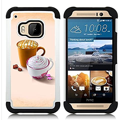 Hypernova Ibrido Heavy Duty Armatura antiurto Cover silicone cassa caso robusto Per HTC One M9 /M9s / One Hima [Disegno sveglio Whip Caffè]