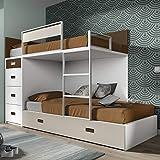 Meubles ROS Lit superposé avec lit d'appoint et 4 tiroirs - 164,4x248,5x103,4 cm...