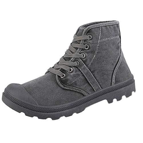 Zapatillas Clasicas para Hombre,Los Hombres de Moda Alta Tobillo Botas cómodas de Fondo Grueso Zapatos de Lona Casual