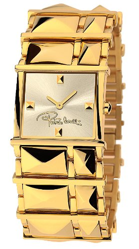 Roberto Cavalli Ladies Rock Analogue Watch R7253121517 with Quartz Movement, Stainless Steel Bracelet and Gold Dial