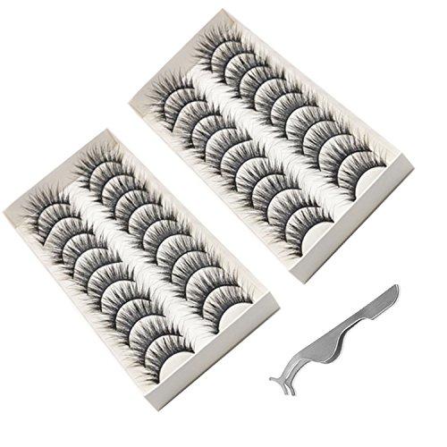 Amaza 20 paia ciglia finte 3d naturali lashes di applicatore remover clip tweezer regalo gratuito (nero)