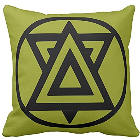 Superimposed Green And Black Trilaterals Pattern Square Decorative Pillow Case Vintage Cushion Cover Two