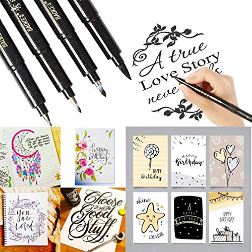 AO 4 Sizes Ink Calligraphy Pen Hand Lettering Pens Brush Markers Drawing Art Marker ()