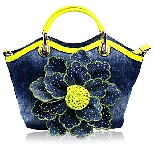 XDDQ Handtasche Damen Damentasche Handtasche Jeans Mit Diamant Rose Blume Tasche LäSsig Handheld UmhäNgetaschen -