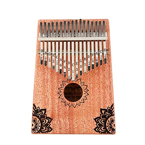 SSeir Kalimba 10/17 Schlüssel tragbar Daumen Klavier mit Tune Hammer und Studienanweisung, Holz Finger Klavier für Kinder Erwachsene Anfänger,15