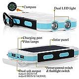 10000mAh Solar Power Bank, Solar Ladegerät, Externer Akku mit superhelle Taschenlampe, Akku pack für Handy (Weiß-Blau) - 3