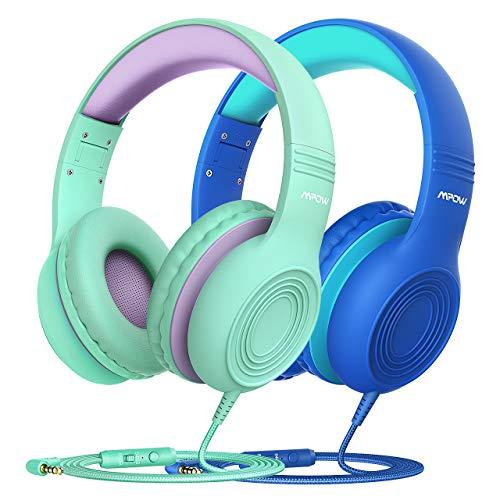 Kinder Kopfhörer, Mpow CH6S Kopfhörer für Kinder mit 85dB Lautstärkeregler Schalter Over-Ear Ohrenschützer Faltbar Lebensmittelqualität Material Mikrofon, 2 Packungen (blau + grün)