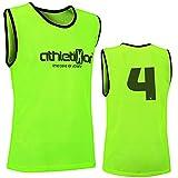 athletikor 12 Fußballleibchen mit Rückennummern - Trainingsleibchen - Leibchen - Markierungshemden (Gelb, ab B Jugend - Erwachsene XL: 73X60CM)