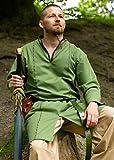 Elfen Tunika langarm aus Baumwolle Herren Damen Fantasy Robe LARP verschiedene Farben Größe XS-XL (XL, Olivgrün/Braun)