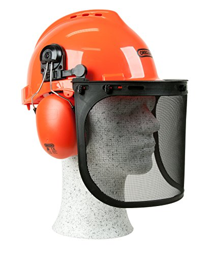 This is another budget chainsaw helmet with a tough impact resistant body made out of polypropylene. Has a wider and long-lasting stainless steel mesh visor, its very comfortable and breathable with 6 ventilation holes available. A 6-point adjustable harness ensures it fits virtually anyone's head. Great quality at a decent price.
