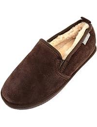 SNUGRUGS Henley Sheepskin Slipper with Rubber Sole, Zapatillas de Estar por Casa para Hombre