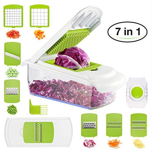 BHY Gemüseschneider, Gemüsehobel,Multischneider Küche Kartoffelschneider, 7 in 1 Reibe und Hobel für Obst Gemüse Schneidemaschine mit Würfeln, Scheiben, Reiben, Slicer aus Edelstahl Slicer