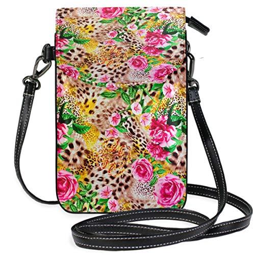 ZZKKO Handtasche mit Leopardenmuster und Blumen-Rose, Mini-Umhängetasche, Handtasche, Leder, für Damen, lässig, täglich, Reisen, Wandern, Camping