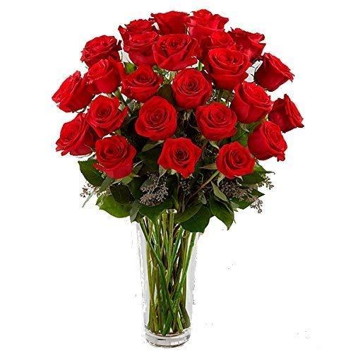 Nos hemos vuelto locos. Ramo de 25 rosas rojas naturales frescas recién cortadas y verde ornamental. Un fantástico ramo que no dejará a nadie indiferente. JARRÓN NO INCLUIDO (pero si opcional)