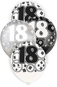 Unique Party- Paquete de 6 globos de látex de 18 cumpleaños, Color negro, Edad (80892)