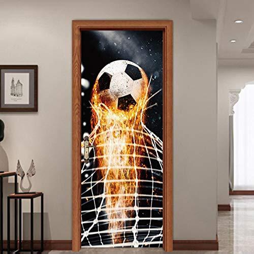 bstklebend Türaufkleber Wandaufkleber 3D Abnehmbare Fußball Poster Selbstklebende Aufkleber Wasserdichte Tür Wandbilder Dekoration für Wohnzimmer Schlafzimmer Büro, 77 * 200 cm ()