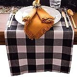 Binchil Chemin De Table en Lin De Coton Buffalo Check pour Les Repas De Famille Ou Les Rassemblements,Les Fêtes en Intérieur Ou en Extérieur,(30x180 Cm,Sièges 8-10 Personnes),Noir+Blanc