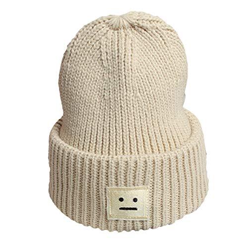 VRTUR Unisex Strickmütze Warm Winter Mütze Feste Baumwolle Hüte Lächelnd Gesicht Stricken Deckel Hut
