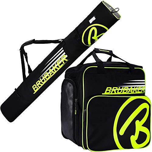 Brubaker Kombi Set Carver Champion - Skitasche und Skischuhtasche für 1 Paar Ski + Stöcke + Schuhe + Helm - Schwarz/Neon Gelb - 190 cm