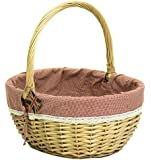 east2eden Honey Willow Wicker Traditional Shopping Easter Basket with Gingham & Lace Liner in Choice of Sizes (Small)