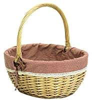 east2eden Honey Willow Wicker Traditional Shopping Easter Basket with Gingham & Lace Liner in Choice of Sizes (Large)