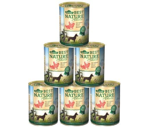 Dehner Best Nature Hundefutter, Adult Lachs und Geflügel mit Reis, 6 x 400 g (2.4 kg)