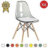 Promo 6 x Chaise Design Inspiration Eiffel Pieds Bois Clair Assise Transparent Gris Mobistyl® DSWL-TG-6