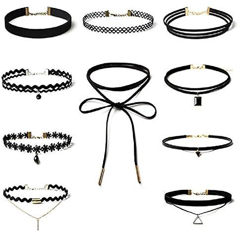 Conjunto de collar Sannysis collar mujer gargantilla de encaje (10 PCS)