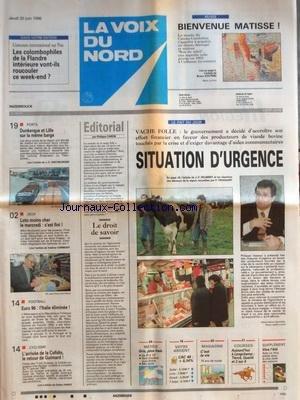 VOIX DU NORD (LA) [No 16177] du 20/06/1996 - VACHE FOLLE - SITUATION D'URGENCE - LE DROIT DE SAVOIR PAR CARON - LES SPORTS - CYCLISME - FOOT - PORTS - DUNKERQUE ET LILLE SUR LA MEME BARGE