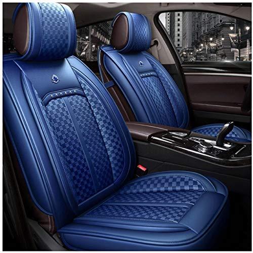 5-Sitzer-Autositzbezüge, 5-Sitzer-Komplettset Universell kompatible Airbags Vorne und Hinten Atmungsaktives Leder-Komfortschutzkissen (Farbe : Blau) (Airbag-kit Für Auto)
