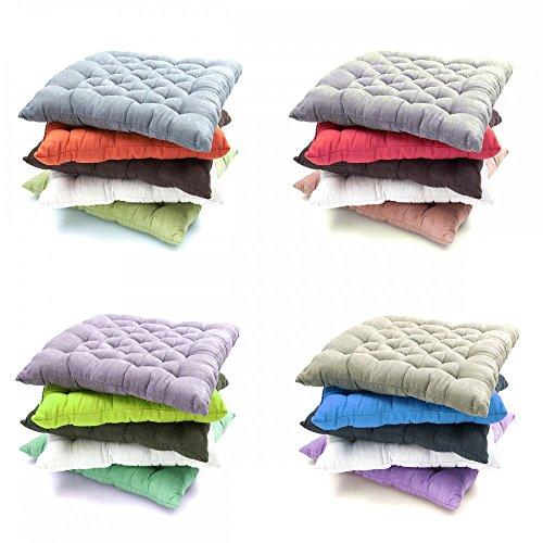 Baumwoll-satin-matratze-auflage (Stuhlkissen Wildleder Optik Bodenkissen Sitzkissen Auflage 40 x 40 Stuhlauflage , Farbe:GRÜN)