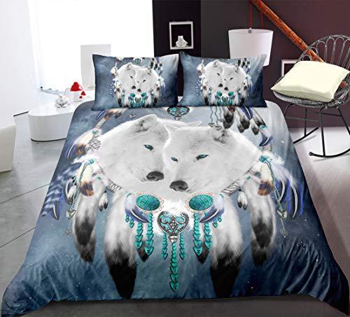 UGUAX - Juego de Funda de edredón y 2 Fundas de Almohada, diseño de Lobo atrapasueños, Color 2, US-Full-3 Pieces