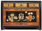 Asien Lifestyle Asiatische Kommode - Sideboard Schwarz aus China (117 cm)