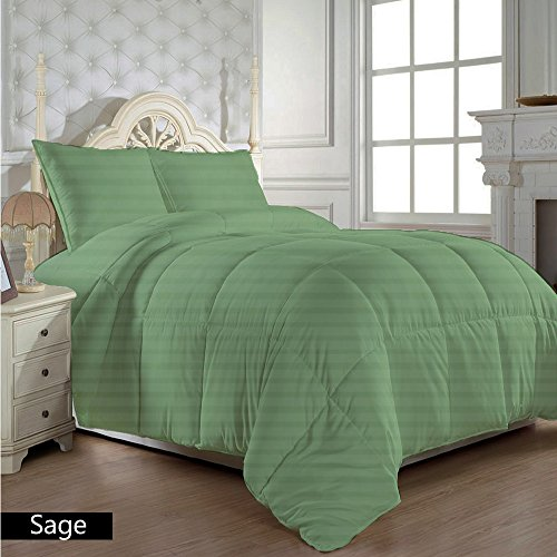 Dreamz Betten Super Soft 650Fadenzahl 100% Baumwolle 1Bettdecke (300gsm Faser Füllen) Kaiser, Salbei Grün Gestreift Ägyptische Baumwolle 650tc Tröster (Tröster Salbei)