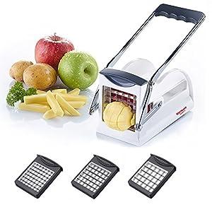 Westmark Pommes-frites Schneider und Gemüse-/Obststiftler mit drei Messereinsätzen und Stempel, Edelstahl-Schneideinsätze, Weiß/Anthrazit, 11802260