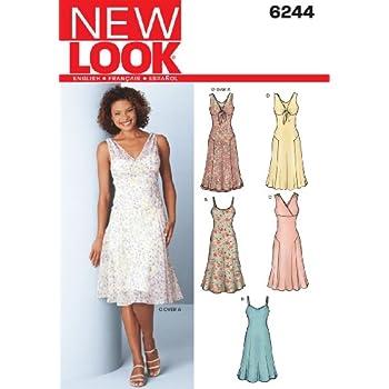 New Look 6889 Schnittmuster für Damenkleider, Größe A, mehrfarbig ...