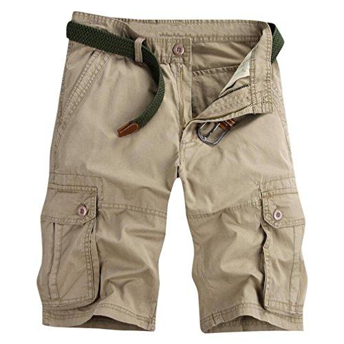 ZKOO Cargo Shorts Uomo Bermuda Pantaloni Corti Estivi Lunghezza Al Ginocchio Pantaloncini con Tasconi Laterali Casuale Cachi