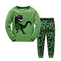 Popshion Kids Boys Pyjamas Set Dinosaur Toddler Pjs 100% Cotton Nightwear Sleepwear Long PJS Set UK Size 1 to 10 Years
