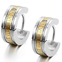 Idea Regalo - Flongo orecchini uomo in acciaio romatico lettering schema cerchio forma oro per natale San Valentino