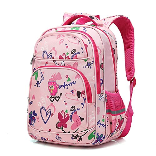 CJH Cute Primary School Kinder Schulranzen Mädchen 1-3-6 Grade Kinder Rucksack 6-12 Jahre Alt Schulmädchen Tasche Rose Red
