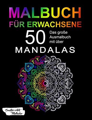 ene: Das große Mandala Ausmalbuch mit über 50 einzigartigen Mandalas auf schwarzem Hintergrund - Kreativ Ausmalen & Malen - Ideal zur Stressbewältigung und Entspannung - A4 ()